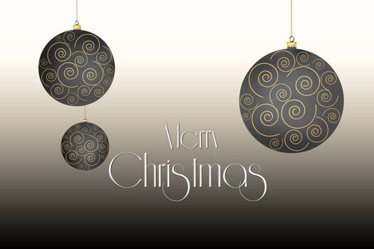 Christmas balls with gold ornament on pastel brown background. 3D Illustration.