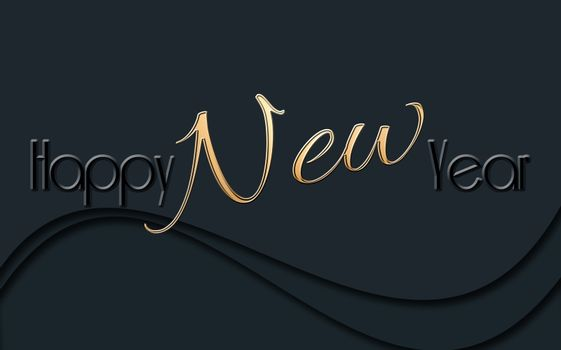 2021 Happy New Year glowing gold black text on black background. Sign, banner, poster, 2021 greeting card. 3D illustration