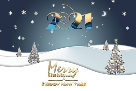 2021 New Year elegant greeting landscape with shining gold christmas trees made of snowflakes on blue background and hanging gold digit 2021, text Merry Christmas Happy New Year. 3D Illustration.