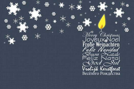 Merry Christmas wishes card in different Europian languages
