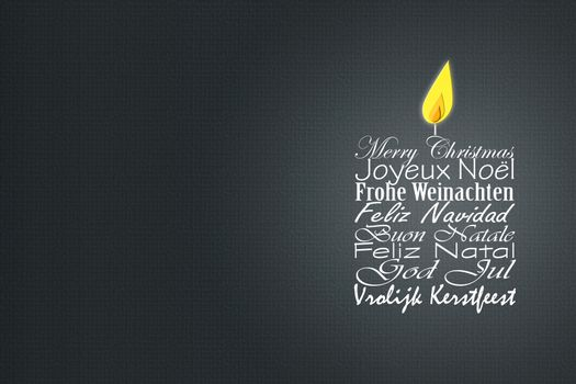 Merry Christmas wishes card in Europian languages