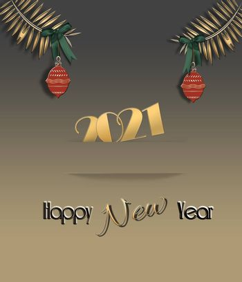 Elegant 2021 New Year card in gold colour with gold shiny text 2021 in paper stripe, fir branches with red balls and text Happy New Year. 3D Illustration