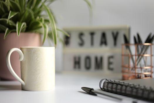 Home office desc concept during self quarantine as preventive measure against virus.