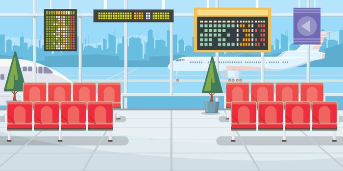 Airport with flight departure boards vector illustration