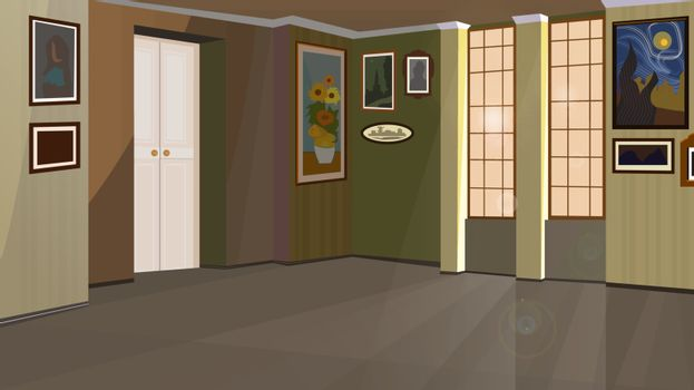 Art gallery with pictures on walls vector illustration