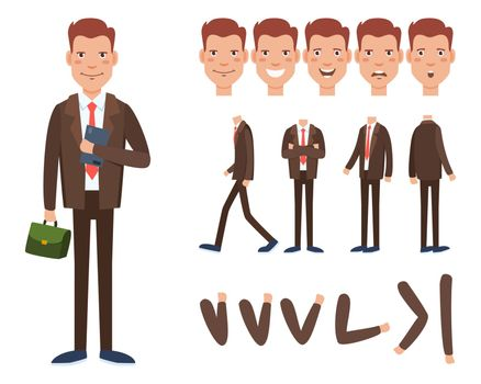 Businessman character set with different poses, emotions
