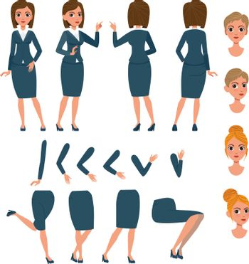 Businesswoman in formal suit character set