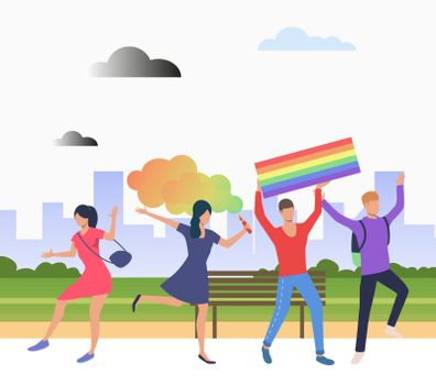 Cheerful people in pride parade