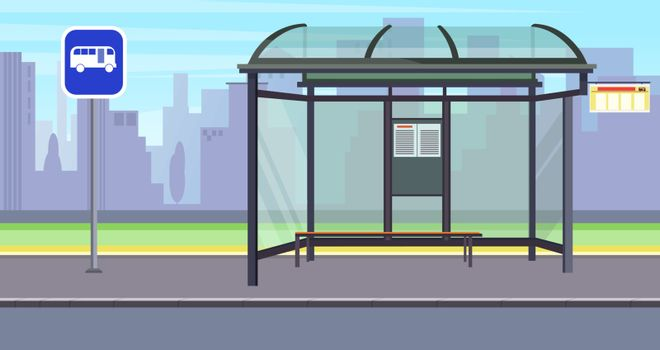Cityscape with empty bus stop and sign vector illustration