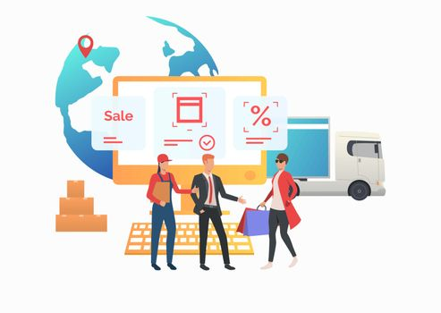 Courier and sales agent meeting consumer