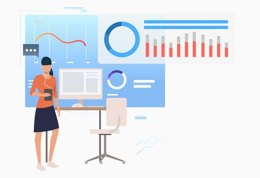 Entrepreneur analyzing business data diagrams
