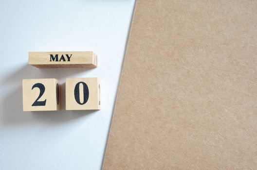 May 20, Empty white - brown background.