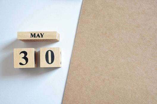 May 30, Empty white - brown background.