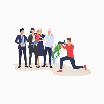 Family photo shoot cartoon illustration