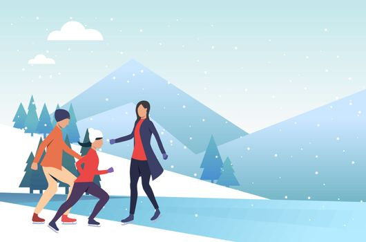 Family skating on frozen pond