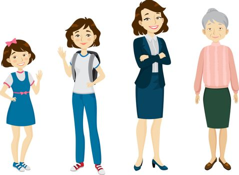 Female of various age character set