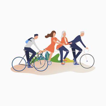 Friends enjoying cycling
