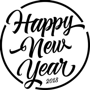 Happy New Year Lettering In Circle