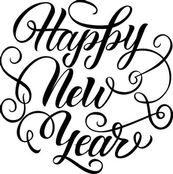 Happy New Year Lettering with Curls