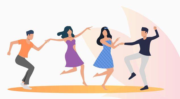 Happy people dancing salsa