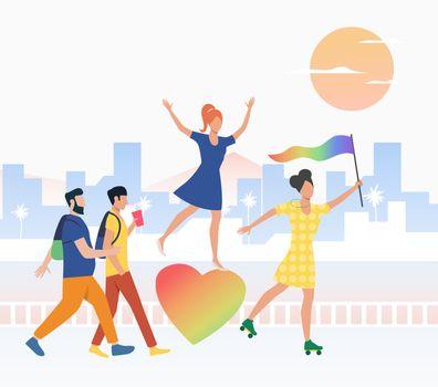 Happy people in pride parade