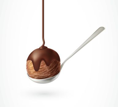 Ice Cream in Spoon and Chocolate Flow