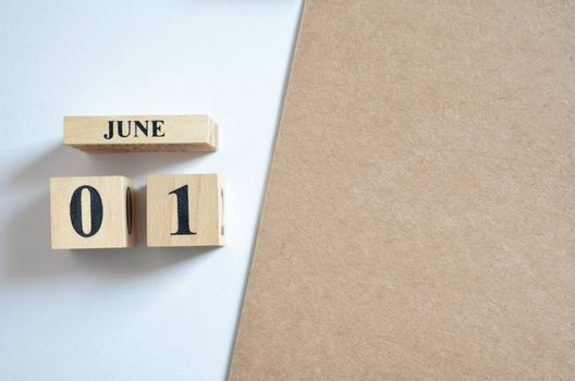 June 1, Empty white - brown background.
