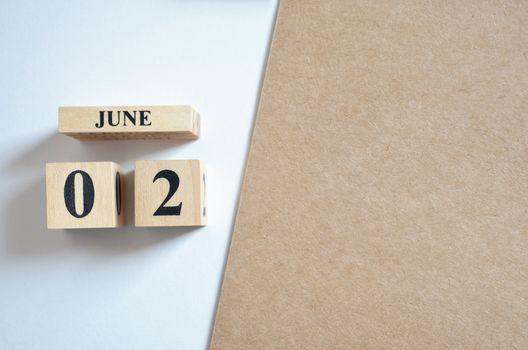 June 2, Empty white - brown background.