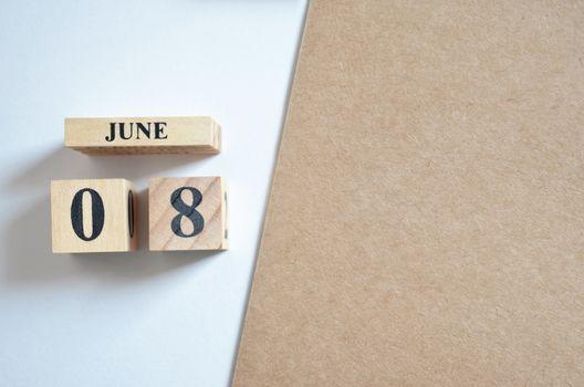June 8, Empty white - brown background.