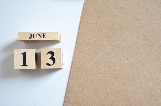 June 13, Empty white - brown background.