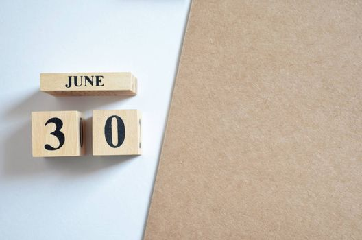 June 30, Empty white - brown background.