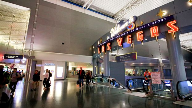 LAS VEGAS, NV/USA - 07 OCT 2017 - Interior of Terminal D at McCarran International Airport (LAS), located south of the Las Vegas strip, is the main airport in Nevada.