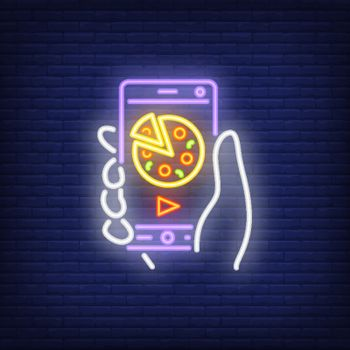 Neon icon of online pizza order