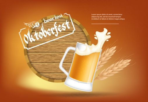 Oktoberfest, beer fest lettering with barrel and beer mug