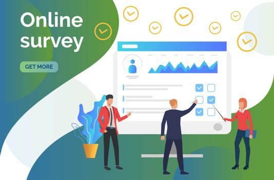 People at computer monitor with survey