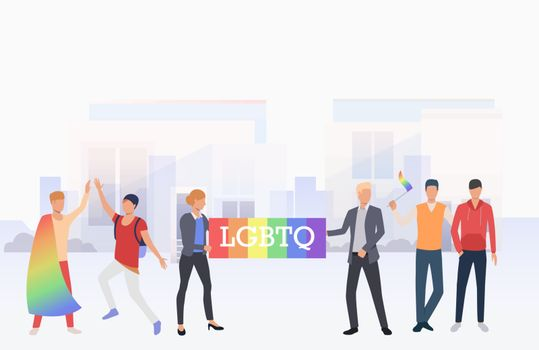 People in LGBTQ parade in city