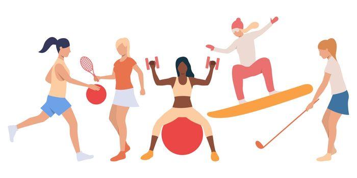 Set of active ladies doing sport