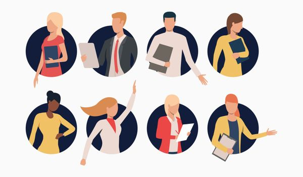 Set of business people with clipboards