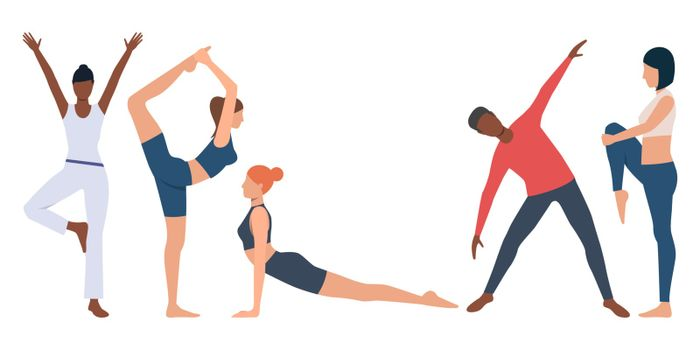 Set of fitness instructor practicing yoga. Flexible young people strengthening body. Vector illustration for body conscious, presentation, promo