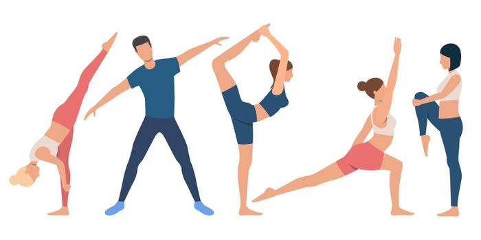 Set of flexible people in various positions. Group of female and male flat vector cartoon characters on white background. Can be used for advertisement, promo, sport training