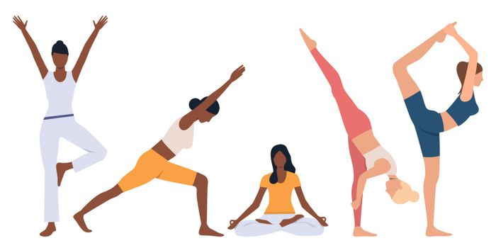 Set of flexible women practicing yoga. Crowd of female cartoon characters doing exercises. Vector illustration for presentation, sport, activity