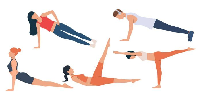 Set of man and women exercising. Group of flexible people stretching muscles and strengthening body. Vector illustration of flat cartoon characters for commercial, presentation slide, promo