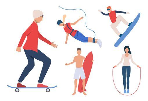Set of outdoor activities. Men and women snowboarding