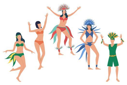 Set of people celebrating national Brazil holiday