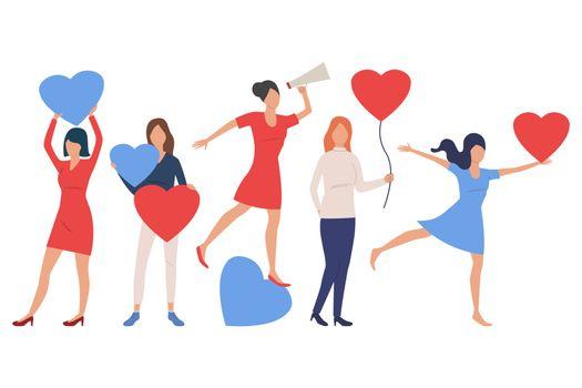 Set of women in love