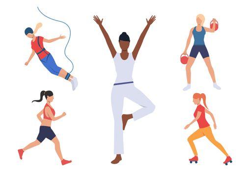 Set of women with active hobbies