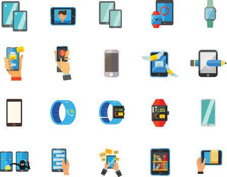 Smartphone and watch icon set
