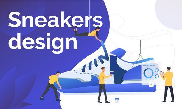 Sneakers design poster template