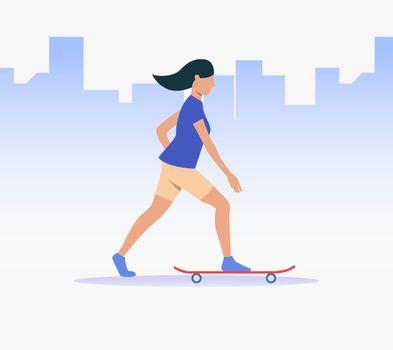 Sporty woman riding skateboard