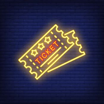 Tickets neon icon